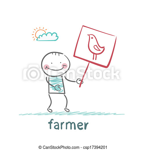 farmer holding a poster with chicken - csp17394201
