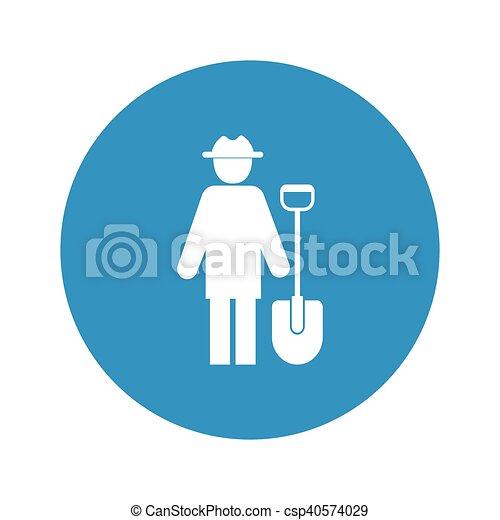 farmer icon on white background - csp40574029