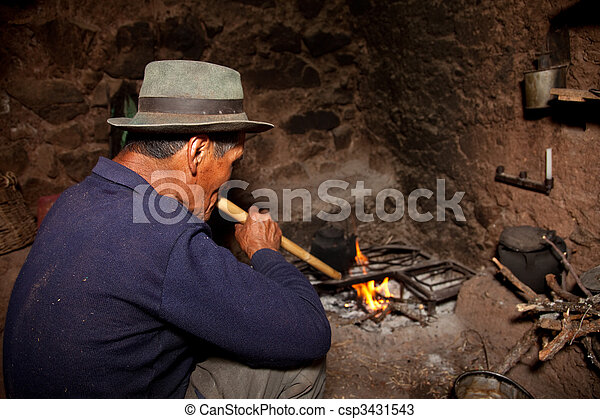 Farmer In A Hut On A Fireplace Andes In Peru South America