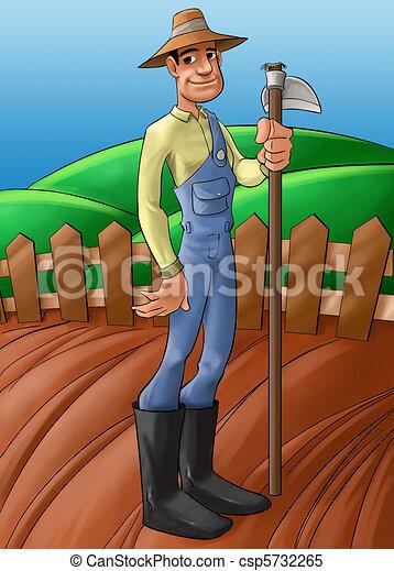farmer in a planted soil - csp5732265
