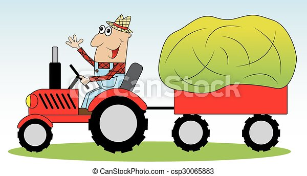farmer on a tractor  - csp30065883