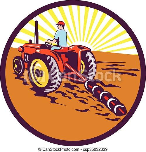 Farmer On Tractor Circle Retro - csp35032339