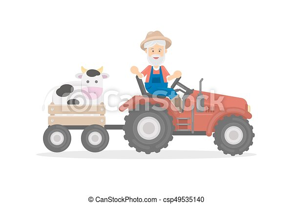 Farmer on tractor. - csp49535140