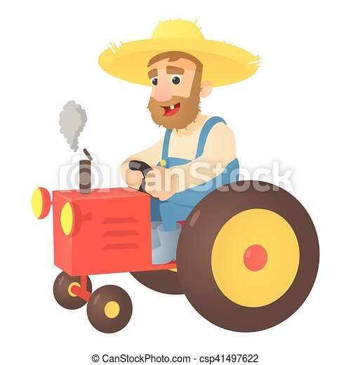 Farmer on tractor icon, flat style - csp41497622
