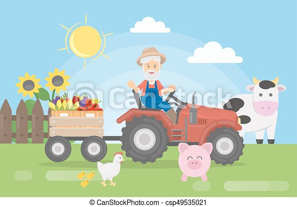 Farmer on tractor. - csp49535021