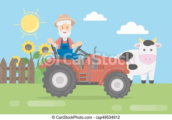 Farmer on tractor. - csp49534912