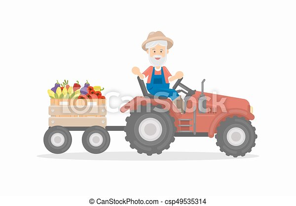 Farmer on tractor. - csp49535314