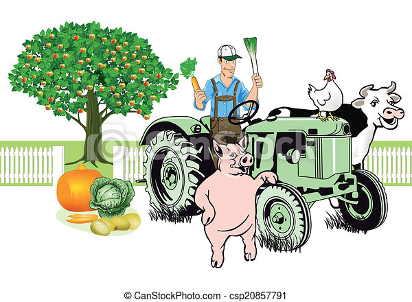 Farmer on Tractor with his animals  - csp20857791