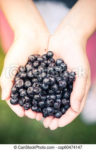 Farmer or gardener woman holding blueberries in hands - csp60474147