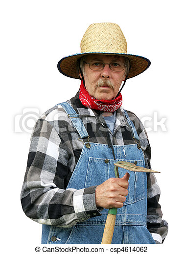 farmer portrait isolated with path - csp4614062