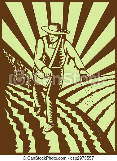 Farmer sowing seeds with sunburst done in retro woodcut style - csp2973557