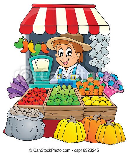 farmer theme image 3 eps10 vector illustration rh canstockphoto com marketplace clipart market clipart