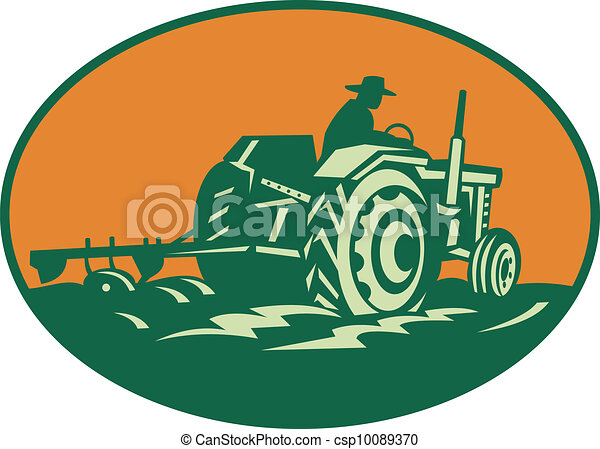 Farmer Worker Driving Farm Tractor - csp10089370