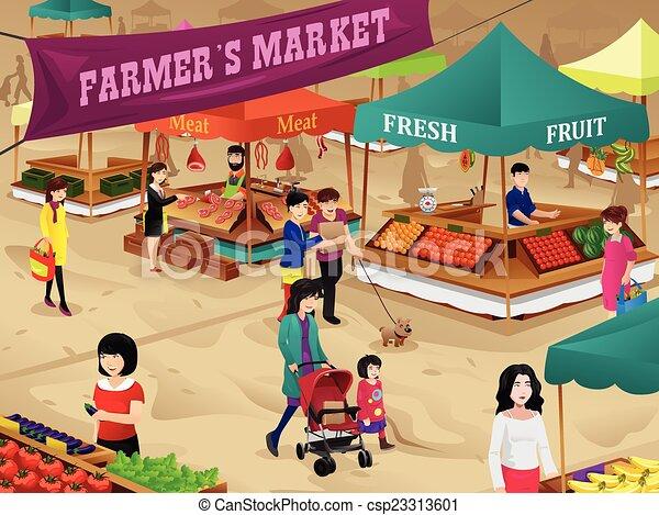 farmers market scene a vector illustration of farmers market scene rh canstockphoto com farmers market clipart black and white farmers market clipart free
