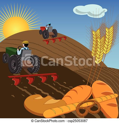 Farmers on tractors plowing the land - csp25053087