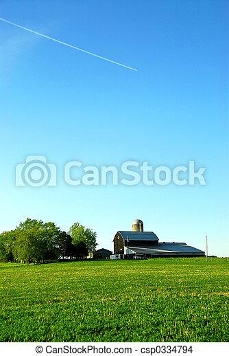 Farmhouse and barn - csp0334794