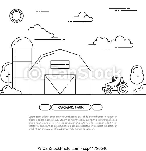 Farmhouse banner for agricultural products advertise Flat line art vector - csp41796546
