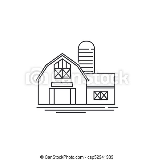Farmhouse Barn Line Icon Outline Illustration Of Horse Vector Linear Design Isolated On White