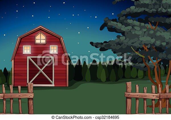 Farmhouse on the farm at nighttime - csp32184695