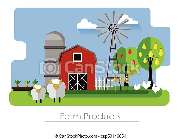 Banner With Barn And Country Animals