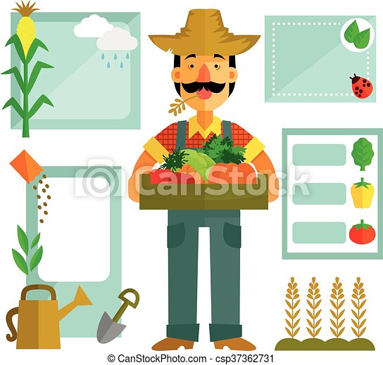 farming elements farmer with vegetables and a set of vectors rh canstockphoto com farming clip art images organic farming clipart