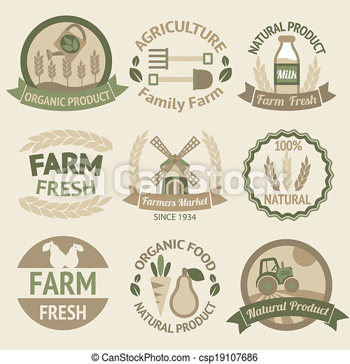Farming harvesting and agriculture labels - csp19107686