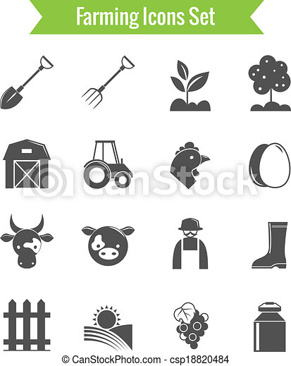 Farming Harvesting and Agriculture Icons Set - csp18820484