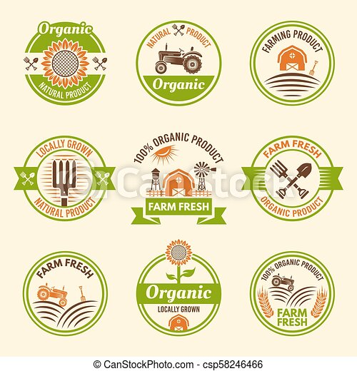 Farming organic products colored vector emblems