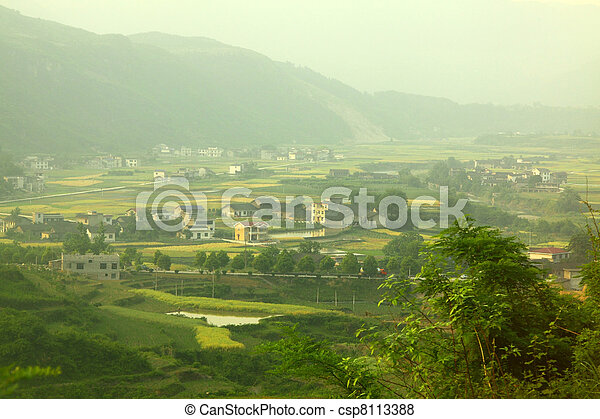 Farmland and houses in China - csp8113388