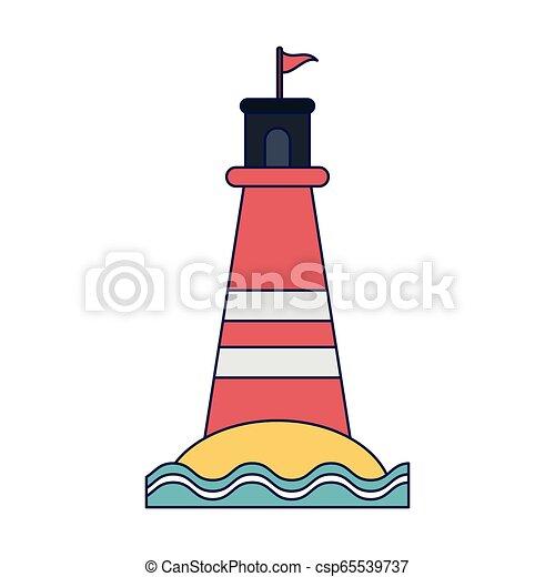El símbolo del faro de playa - csp65539737