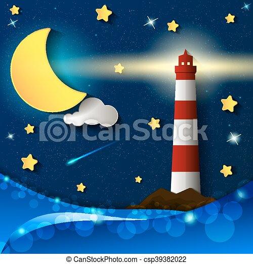 Noche de tormenta del faro - csp39382022