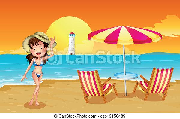 farol, praia, através, menina - csp13150489