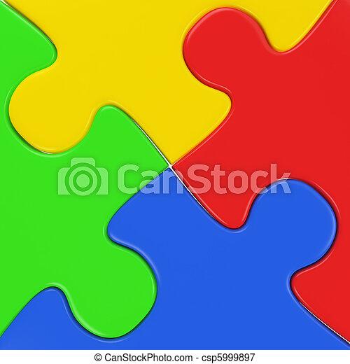 farvet, opgave, oppe, stykker, fire, lukke - csp5999897
