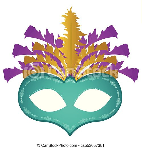 Fasching Maske Mardi Maske Gras Gefieder Freigestellt