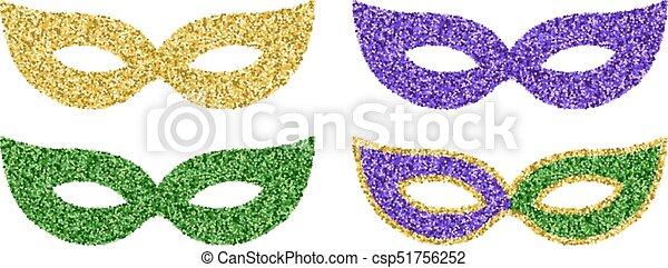 Fasching Masken Mardi Satz Bunte Gras Masken Vier Glitzer