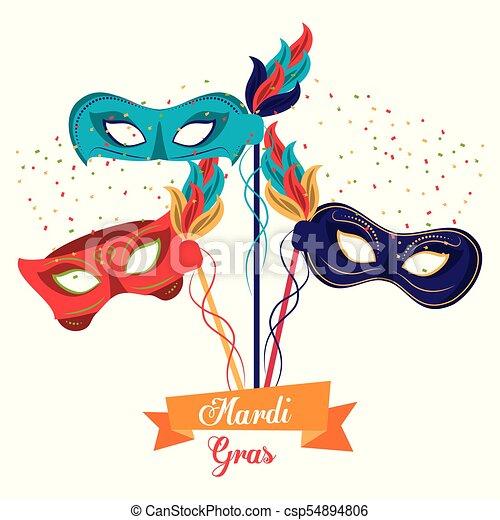 Fasching Masken Mardi Grafik Gras Abbildung Vektor Design