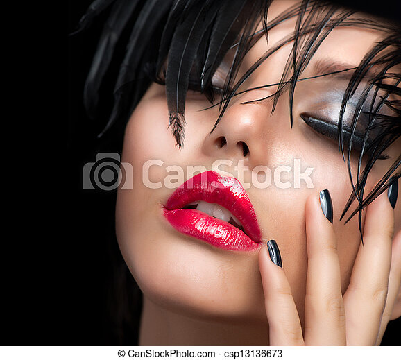 Fashion Art Girl Portrait. Vivid Makeup  - csp13136673