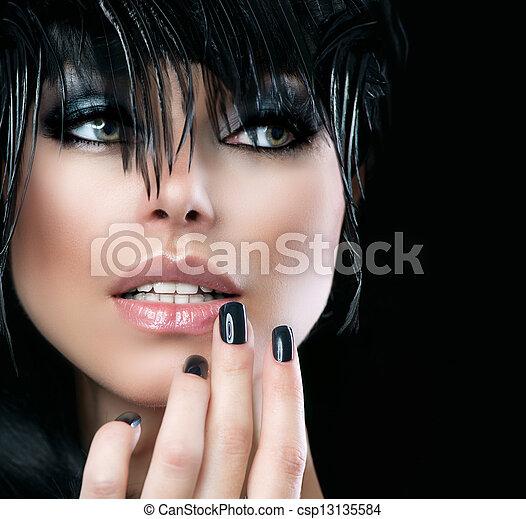 Fashion Art Portrait Of Beautiful Girl. Vogue Style Woman  - csp13135584