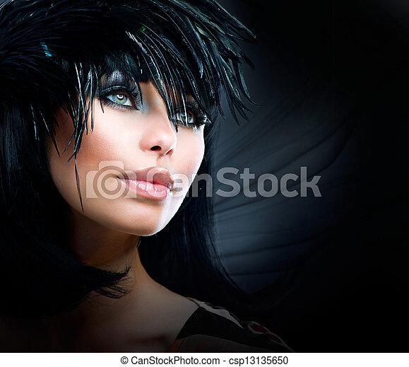 Fashion Art Portrait Of Beautiful Girl. Vogue Style Woman  - csp13135650