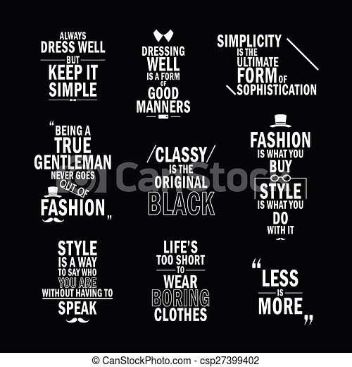 Fashion Attitude Quotes Set Isolated On Black Background