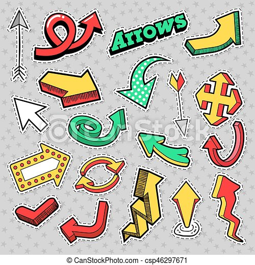 fashion badges patches stickers arrows theme different arrows in