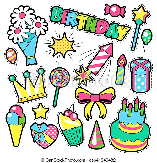 fashion badges patches stickers birthday theme happy vector rh canstockphoto com sticker clip art free clipart stickers free