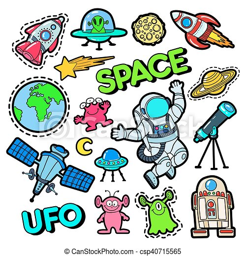 fashion badges patches stickers set with space ufo clip art rh canstockphoto com clipart stickers free stickers clipart