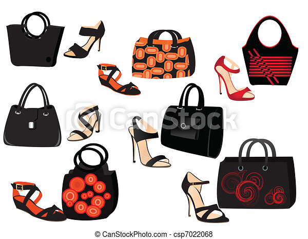 Fashion Bags Bags And Shoes On White Background