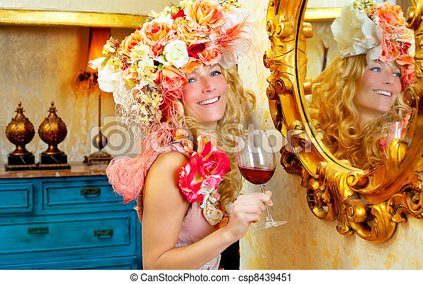 fashion baroque blond woman drinking red wine - csp8439451