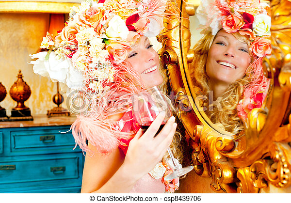 fashion baroque blond woman drinking red wine - csp8439706