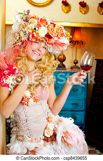 fashion baroque blond woman drinking red wine - csp8439655