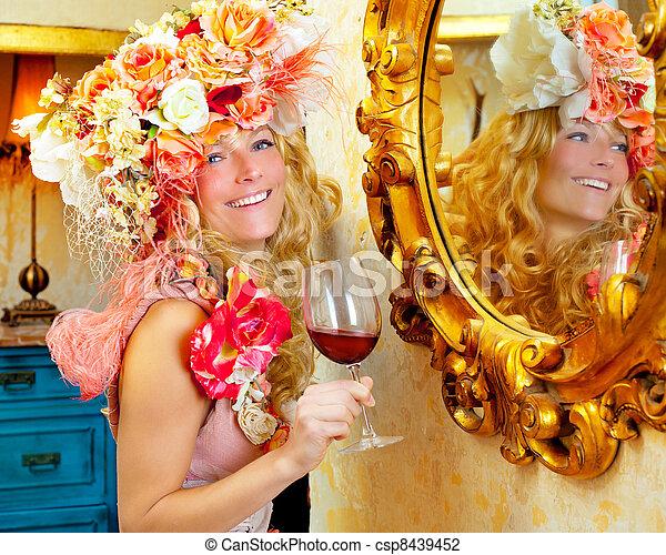 fashion baroque blond woman drinking red wine - csp8439452