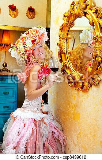 fashion baroque blond woman drinking red wine - csp8439612