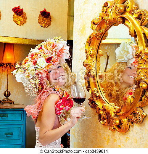 fashion baroque blond woman drinking red wine - csp8439614